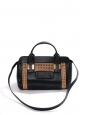 ALICE black leather and camel brown leather handbag with long strap Retail price €1250