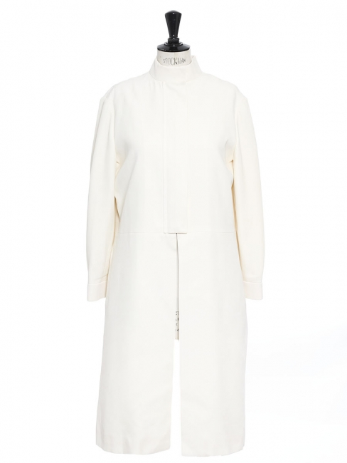 Ivory white silk-blend mandarin collar coat NEW Retail price €1600 Size 40