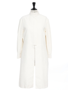 Ivory white silk-blend mandarin collar coat NEW Retail price €1600 Size 38