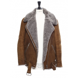 VELOCITE Brown mock felted shearling jacket Retail price €2000 Size 36 to 38