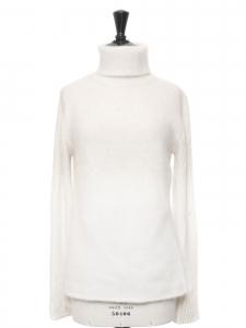 Pull col roulé en angora en laine blanc neige Taille 38/40