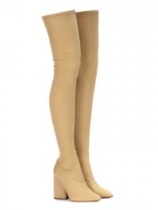 Bottes Dollar cuissardes à talon en tissu stretch beige Prix boutique $800 Size 37