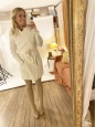DOLLAR beige stretch fabric over the knee high heel boots Retail price $800 Size 37