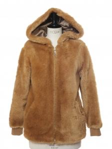 Veste manteau à capuche en fausse fourrure marron camel Prix boutique 500€ Taille XS