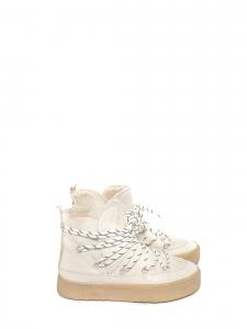 Bottines boots d'hiver en cuir et shearling blanc crème Taille 37