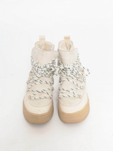 Winter cream white leather and shearling flat boots Size 37