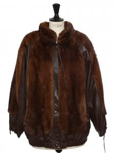 Veste manteau en fourrure marron noisette et cuir Prix boutique 2000€ Taille 40