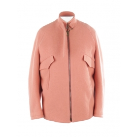Pink felted wool blend oversized leather trimmed jacket Retail price €1750 Size 36 to 38