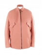 Pink felted wool blend oversized leather trimmed jacket Retail price €1750 Size 36