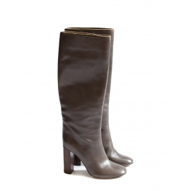 Taupe brown leather wooden heel boots Retail price €1000 Size 37