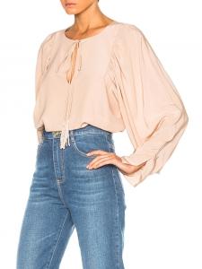 CHLOE Blush pink tasseled silk crepe de chine romantic blouse Retail price $1295 Size 36