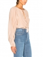 CHLOE Blush pink tasseled silk crepe de chine romantic blouse Retail price $1295 Size 36