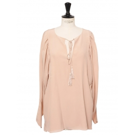 Blush pink tasseled silk crepe de chine romantic blouse Retail price $1295 Size 36