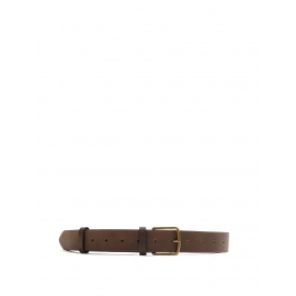 Dark brown leather large belt with gold buckle Retail price €430 Size XS to M