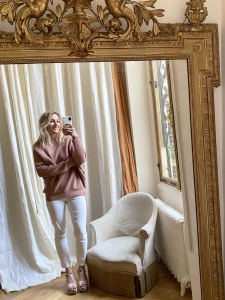 Old pink ribbed wool crew neck asymmetric sweater Retail price €750 Size S to M