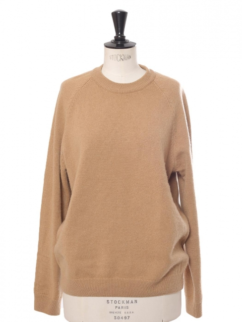 Beige camel thick cashmere round neck sweater Retail price $495 Size M