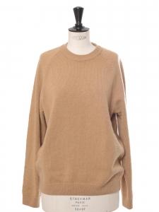 Pull col rond en cachemire épais beige camel Prix boutique $495 Taille M
