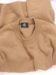 Beige camel thick cashmere round neck sweater Retail price $495 Size M