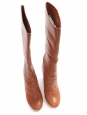 Fawn camel brown leather wooden high heel boots Retail price €1000 Size 38