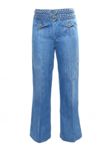 Blue denim braided woven waist high rise flared jeans Retail price €550 Size 38