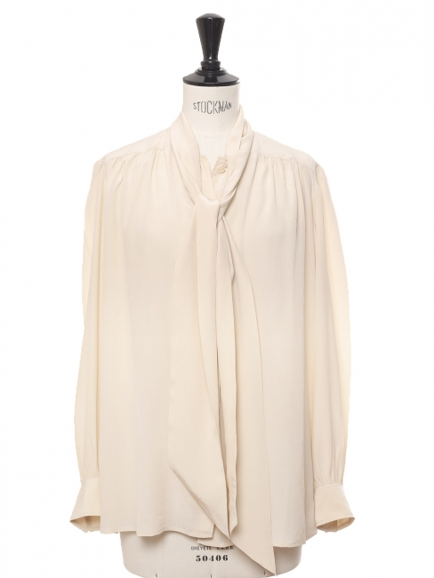 Long sleeves pussy bow beige cream silk shirt Size 36 to 38