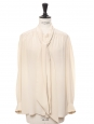 Long sleeves lavalliere cream white silk shirt Size 36 to 38