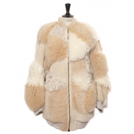Beige, light pink and camel oversized shearling fur and leather jacket Retail price €5750 Size 40 to 44