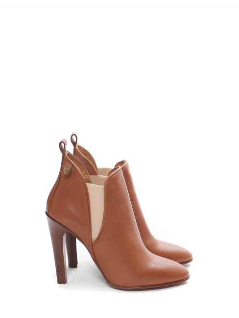 PIPER Tan leather heeled ankle boots Retail price €640 NEW Size 40