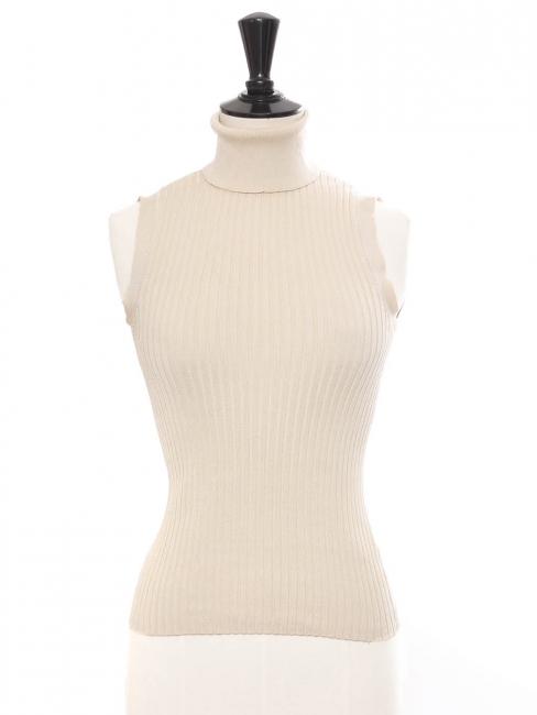 Beige cream silk ribbed knit sleeveless turtleneck top Retail price €250 Size 36