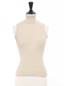 Beige cream silk ribbed knit sleeveless turtleneck top Retail price €250 Size 36