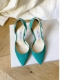 JIMMY CHOO Escarpins LIZ 100 Emerald en suede bleu vert Prix boutique 575€ Taille 36