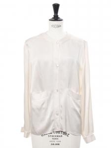 Chemise manches longues col rond en satin blanc ivoire Prix boutique 600€ Taille 38