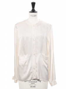 Ivory white silk satin long sleeves shirt Retail price €600 Size 38