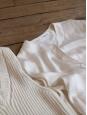 Ivory white silk satin long sleeves shirt Retail price €600 Size 38