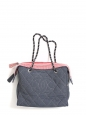 Blue quilted denim and white and red striped cotton canavs cabas chain strap bag Retail price €2000