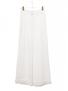 High waist straight leg white crepe pants Retail price €2500 Size 36