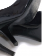 Midnight blue patent leather peep toe pumps with golden signature Retail price €750 Size 37,5