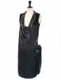 LANVIN Black silk satin dress and Swarovski crystals chains Retail price €2500 Size 36