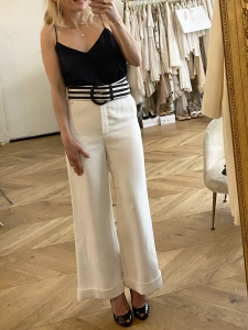 Black and white striped large belt with leather buckle Retail price €450 Size S/M