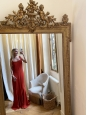 Chili red crepe maxi dress with straps Retail price €400 Size 40