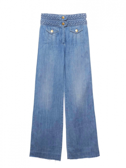 Blue denim braided woven waist high rise flared jeans Retail price €550 Size 36