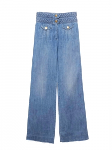 Pantalon jean évasé bleu moyen avec ceinture tressée Px boutique 550€ Taille 38