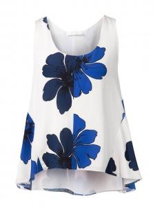 Top débardeur en soie blanche imprimé fleuri bleu cyan et bleu marine Prix boutique 480€ Taille 36
