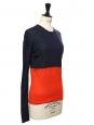 Pull bicolore rouge et bleu marine en soie et coton Taille 34