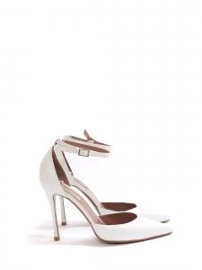 Escarpins ALHAMBRA talon fin bout pointu bride cheville en cuir blanc Prix boutique $695 Taille 37.5
