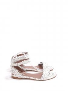 Sandales plates LETICIA en cuir fleuri blanc avec bride cheville Prix boutique 550€ Taille 37,5