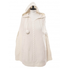 Cream white cashmere and wool knitted sleeveless hooded poncho Retail price €350