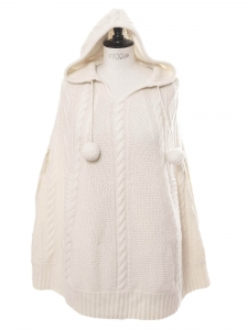 Cream white cashmere and wool knitted sleeveless hooded poncho