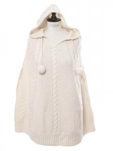 Poncho à capuche en maille torsadée cachemire et laine blanc crème