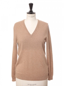 Camel brown cashmere V-neck sweater Retail price €240 Size M